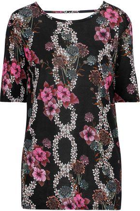 SANDRO Cutout floral-print jersey top