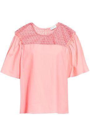 SANDRO Paneled cotton-poplin and crochet top