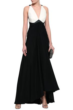 ROBERTO CAVALLI Elaphe-paneled stretch-silk crepe gown