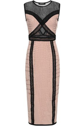 ROBERTO CAVALLI Lace-paneled jacquard-knit midi dress