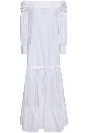 ROBERTO CAVALLI Off-the-shoulder fluted cotton and linen-blend midi dress