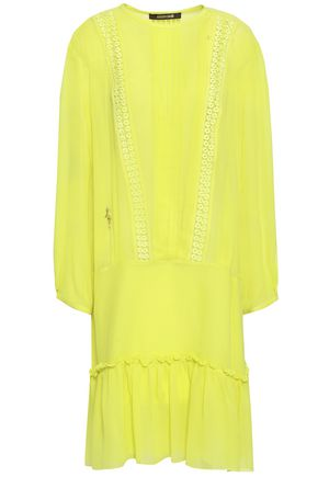 ROBERTO CAVALLI Lace-trimmed pintucked silk-georgette dress