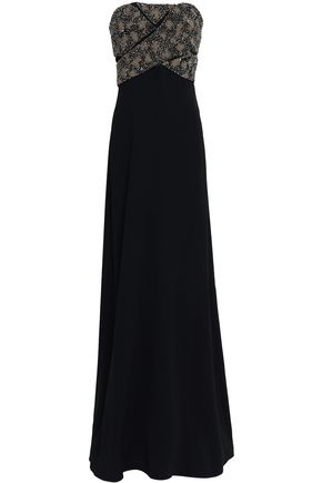 ROBERTO CAVALLI Embellished embroidered crepe gown