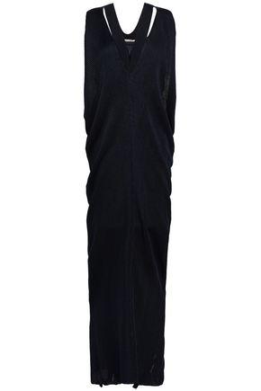 ROBERTO CAVALLI Draped ribbed-knit maxi dress