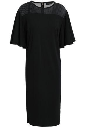 DONNA KARAN Mesh-paneled ponte dress
