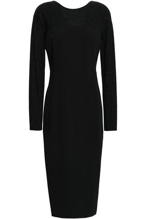 DONNA KARAN Glittered crepe-paneled and ponte midi dress