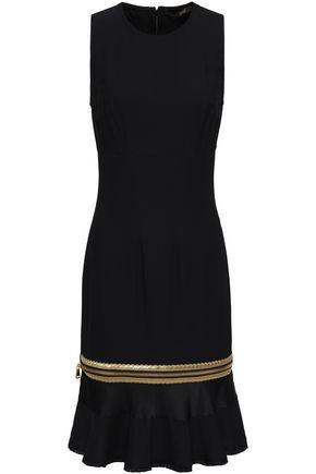 ROBERTO CAVALLI Metallic-trimmed satin-paneled stretch-crepe dress