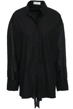 AMANDA WAKELEY Paneled linen and poplin shirt
