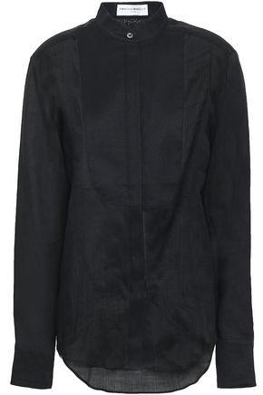 AMANDA WAKELEY Piqué-paneled linen shirt