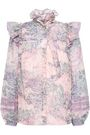 MARC JACOBS Lace-trimmed ruffled printed cotton blouse