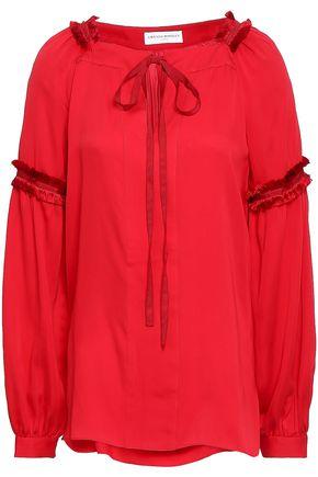 AMANDA WAKELEY Frayed silk crepe de chine top