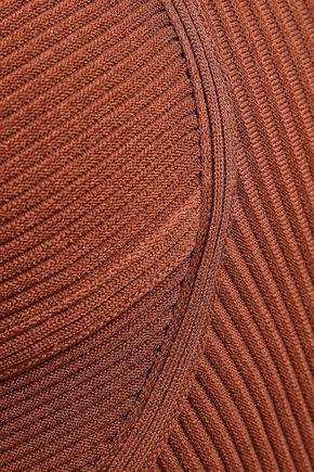 ROBERTO CAVALLI Pleated cutout ribbed-knit mini dress