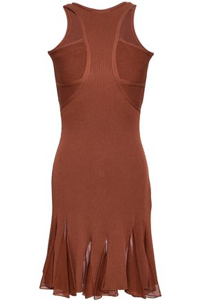 ROBERTO CAVALLI Pleated cutout ribbed-knit mini dress