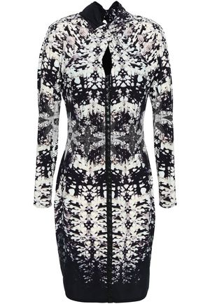 ROBERTO CAVALLI Faux leather-trimmed printed stretch-jersey dress