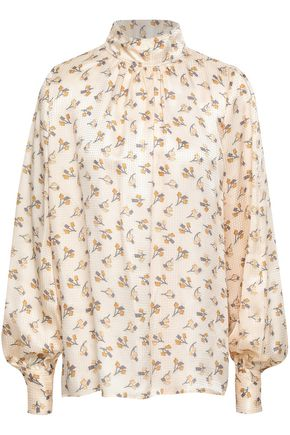 MARC JACOBS Gathered silk-jacquard blouse