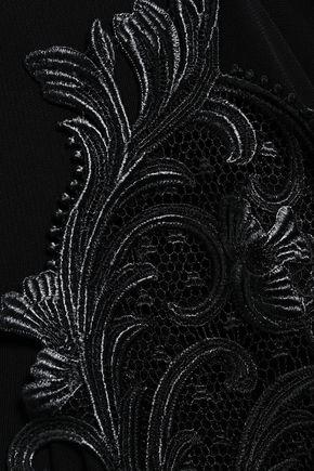 ROBERTO CAVALLI Cutout lace-trimmed crepe dress