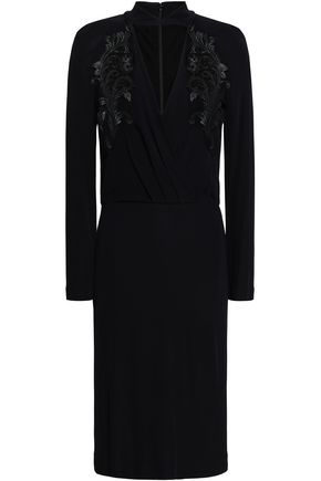 ROBERTO CAVALLI Cutout lace-trimmed crepe dress