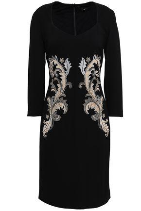 ROBERTO CAVALLI Embellished embroidered crepe dress
