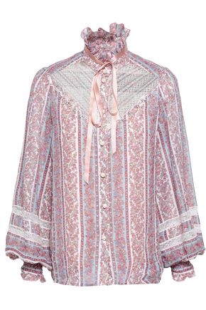MARC JACOBS Lace-paneled embellished printed cotton and silk-blend gauze top