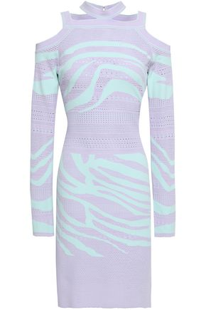 ROBERTO CAVALLI Cold-shoulder cutout pointelle-knit mini dress