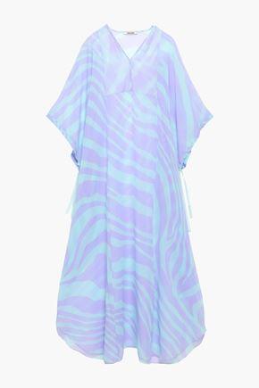 ROBERTO CAVALLI Zebra-print silk-voile kaftan