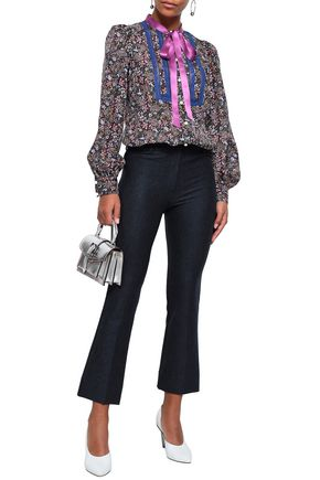 MARC JACOBS Pussy-bow lace-trimmed printed silk blouse