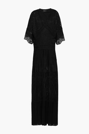 ROBERTO CAVALLI Lace-trimmed pointelle-knit maxi dress
