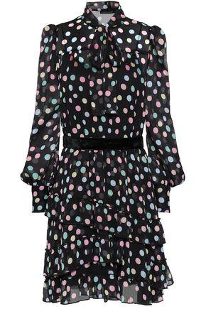 MARC JACOBS Pussy-bow polka-dot crinkled georgette mini dress