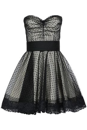 MARC JACOBS Lace-trimmed flocked tulle gown