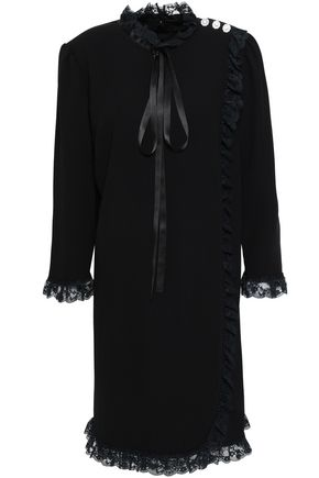 MARC JACOBS Pussy-bow lace and satin-trimmed crepe dress