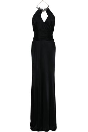 ROBERTO CAVALLI Cutout embellished satin gown
