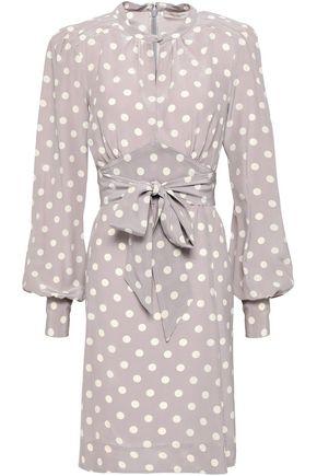 MARC JACOBS Tie-front polka-dot silk crepe de chine mini dress