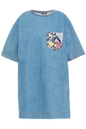 MARC JACOBS Printed crepe de chine-trimmed denim mini dress
