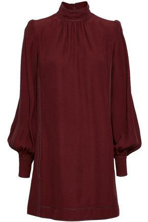 MARC JACOBS Gathered satin-crepe turtleneck mini dress