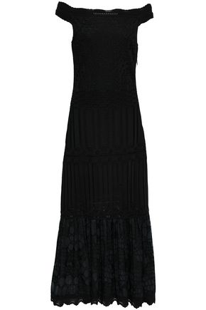 ROBERTO CAVALLI Off-the-shoulder lace-paneled knitted midi dress