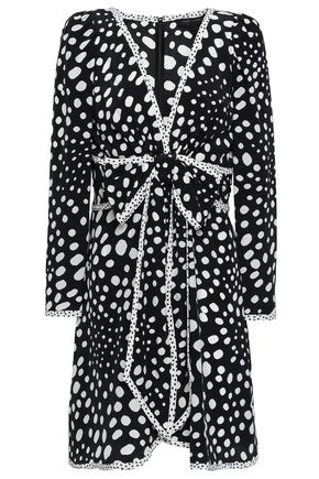 MARC JACOBS Bow-embellished polka-dot silk crepe de chine mini dress