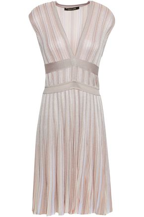 ROBERTO CAVALLI Pleated ribbed-knit mini dress