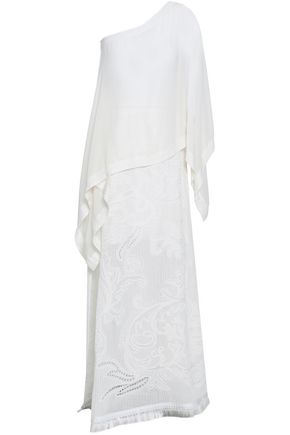ROBERTO CAVALLI One-shoulder draped pointelle-knit cotton-blend maxi dress