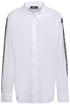 DKNY Lace-trimmed cotton-blend poplin shirt