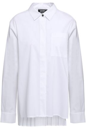 DKNY Pleated cotton-blend poplin shirt