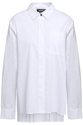 DKNY Pleated cotton-blend poplin shirt