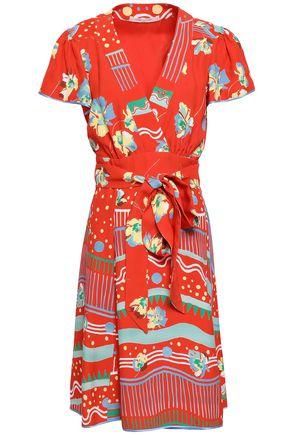 MARC JACOBS Wrap-effect printed crepe de chine dress