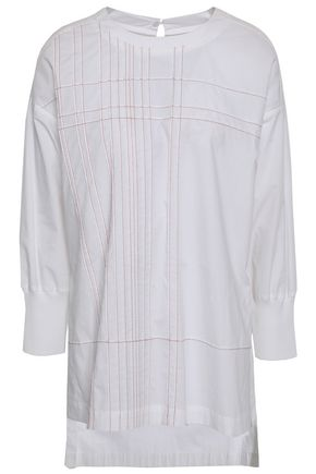 a6e64469ee5d4 DKNY Embroidered cotton-poplin blouse