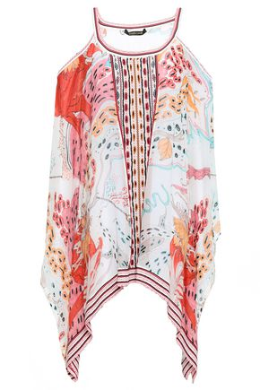 ROBERTO CAVALLI Cold-shoulder printed silk-chiffon and jacquard-knit blouse