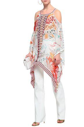 ROBERTO CAVALLI Cold-shoulder printed silk-chiffon and jacquard-knit blouse