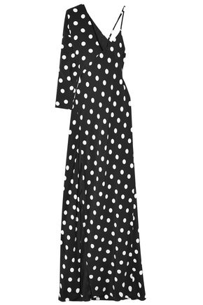 MICHELLE MASON One-shoulder polka-dot silk crepe de chine gown