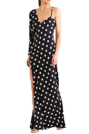 MICHELLE MASON One-shoulder polka-dot silk crepe de chine gown