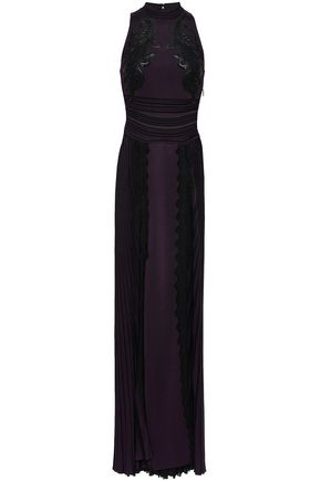 ROBERTO CAVALLI Appliquéd pleated woven gown