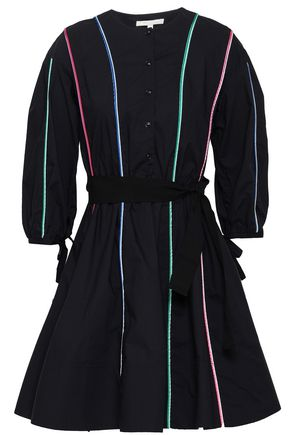 MAJE Belted cotton-poplin mini shirt dress