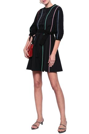 MAJE Belted cotton-poplin mini shirt dress